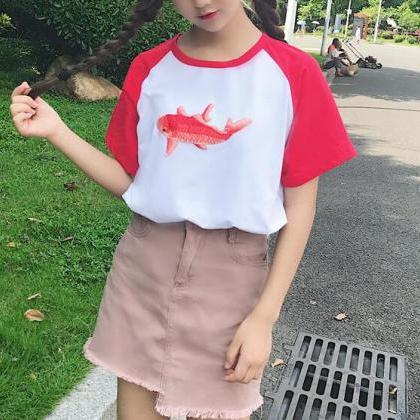 Fish Embroidered T-shirt