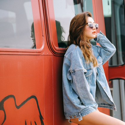 Light-Washed Oversized Denim Jacket..