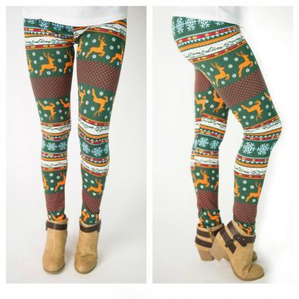 Elk Snowflakes Christmas Leggings