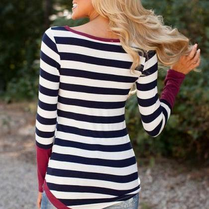 Striped Scoop Long Sleeves Patchwor..