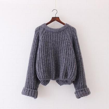 Pure Color Long Sleeves Irregular L..