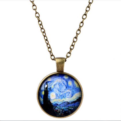 Retro Van Gogh print light necklace