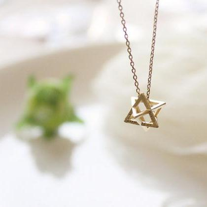 Cubic star necklace, simple necklac..