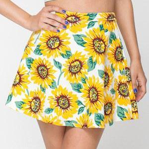 Yellow A Line Skater Sunflower Prin..