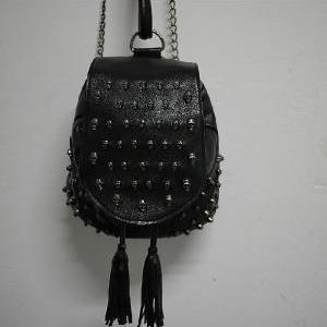 rivet retro skeleton tassels backpa..