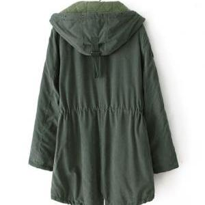 Green Hooded Long Sleeve Lace Draws..