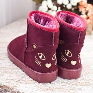 Cute Kitty Snow Fur Boots. Four Col..