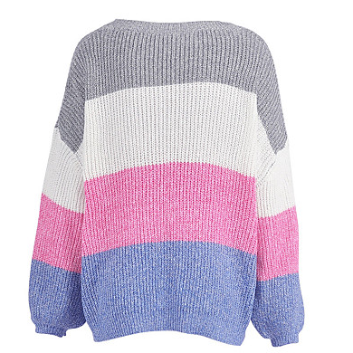 Color Block Women's Basic Pullover ..