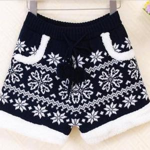 Retro Wool Snowflake Shorts. Two Co..