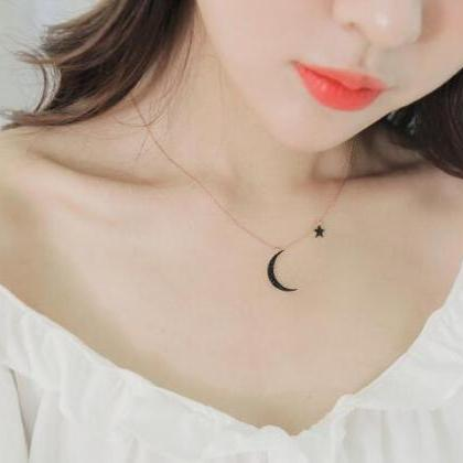 Moon and star chocker necklace