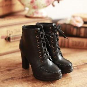 Cute Lace Up Anklet Boots