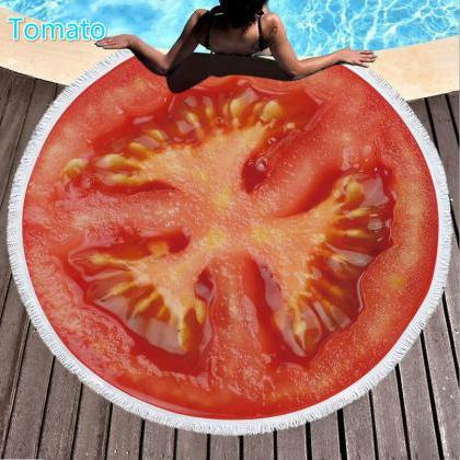 tomato Tassel Round Beach Towel/Bat..