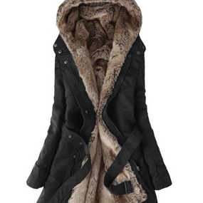 Fashion Faux Fur Lined Coat-black c..