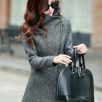 Dark Grey Woolen Winter Coat