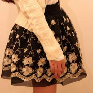 Retro Inspired High Waist Embroider..