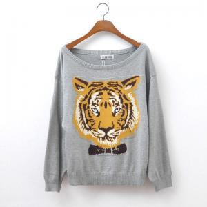 Fashion Gray Tiger Head Sleeve Swea..
