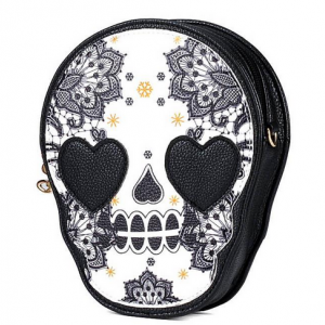 Retro Skull Printed Tassel Zip Mini..