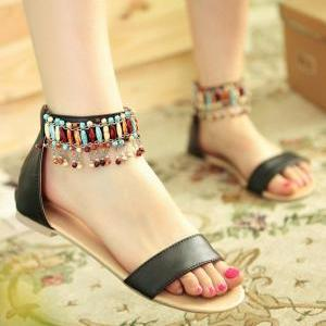 Fashion Handmade Beaded Tassel Shoe..