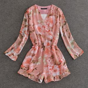 Floral Print Long Sleeve Low-Cut V ..