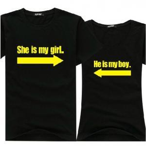 Fashion My Boy & My Girl Black Tee