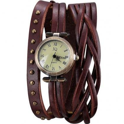 fashion Dark Brown Leather Band Wat..