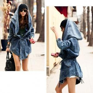 Sexy Fashion Women Lady Denim Trenc..