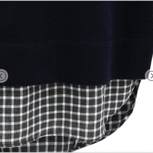 Navy Contrast Plaid Long Sleeve Poc..
