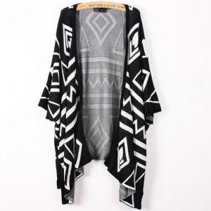 Oversized Aztec Geometry Print Knit..