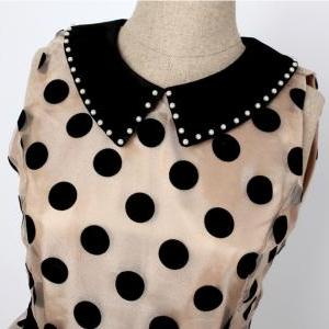 New Beige Turn-Down Collar Dot Abov..
