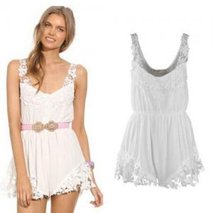 Fashion Lace Spliced Sleeveless Chi..