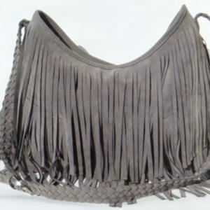Grey Boho Fringe Purse ~ Suede Tass..