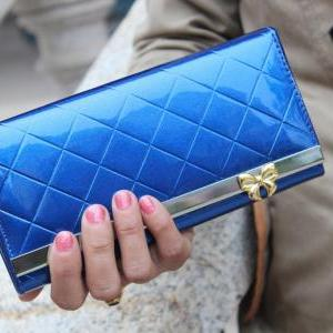 Women PU Leather Quilted Bow Solid ..
