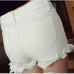 White Distressed Denim Short Pants ..