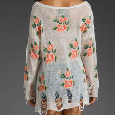Unique Style Rose Print Frayed Knit..