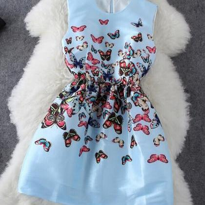 Butterfly Print Sleeveless Dress AF..