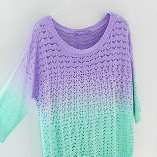 Colorful Gradient Hollow Pullover S..