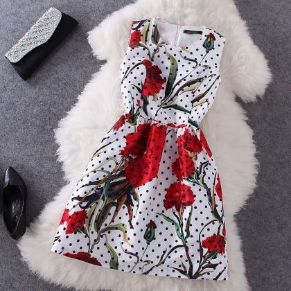 Fashion Printed Polka Dot Dress BA7..