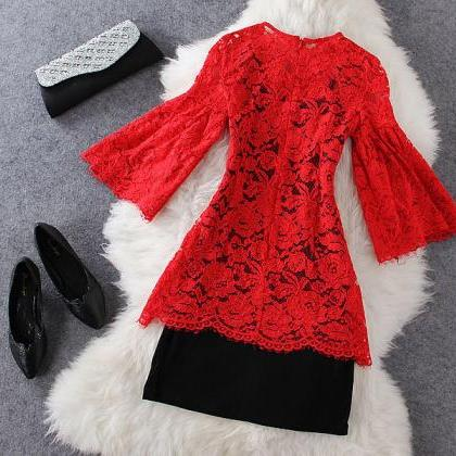 Fashion Red Lace Dress ( Two-piece ..