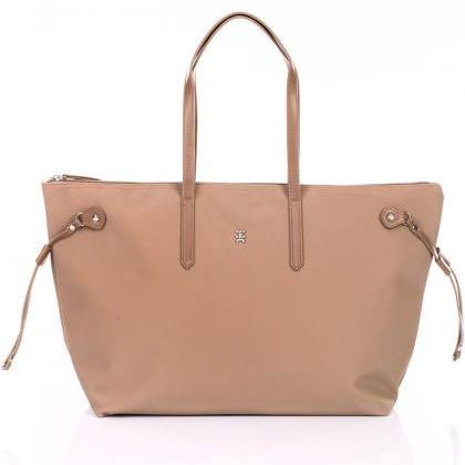 Dark Beige Textile And Leather Tote..