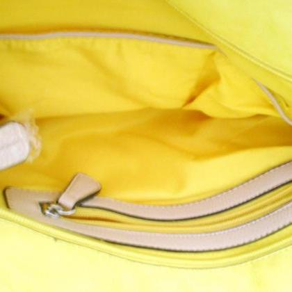 Yellow Leather Tote Hobo Handbag Sh..