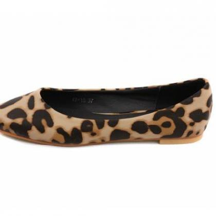 Square Toe Leopard Flat Shoes