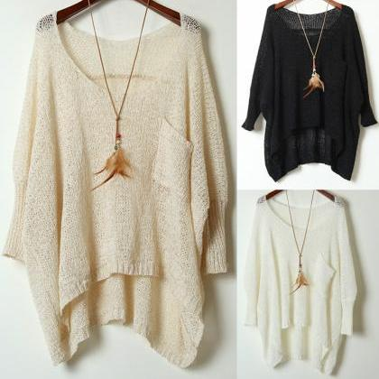 Simple Round Neck Sweater Loose Bat..