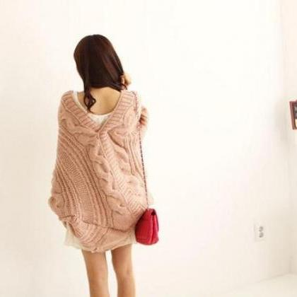 New light pink Lady Loose Warm Swea..