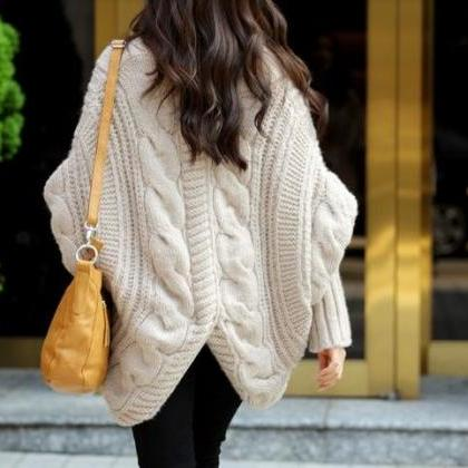 Beige New Lady Loose Warm Sweater C..