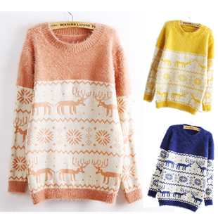 Deer Snowflake Round Neck Sweater F..