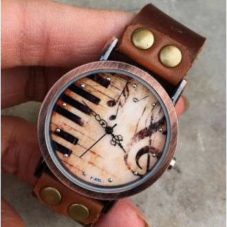 Handmade Piano Retro Leather Watch