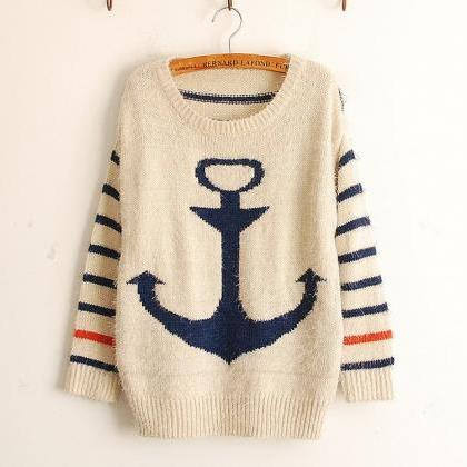 Fashion Blue Pullover Navy Anchor S..