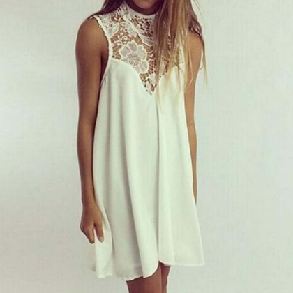 Sexy Lace Stitching Sleeveless Vest..