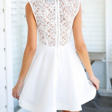 Slim Stitching Lace Sleeveless Dres..