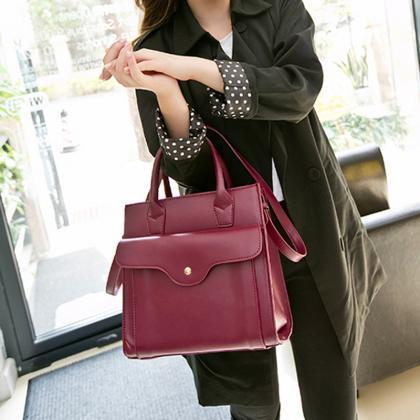 Front Flap Square Handbag with Shou..